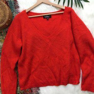 Lulu's • Oversized V-Neck Knit Pullover Sweater
